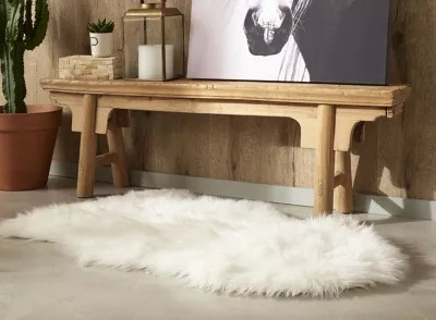 tapis blanc imitation peau de mouton 60 x 90 cm