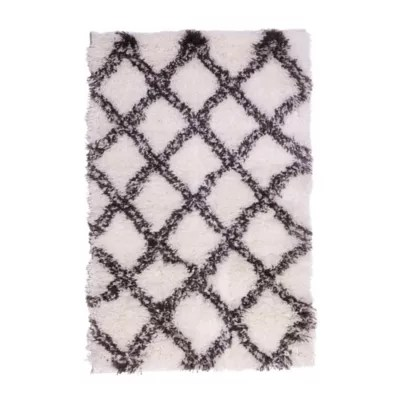 tapis tribal losanges blancs 150 x 200 cm