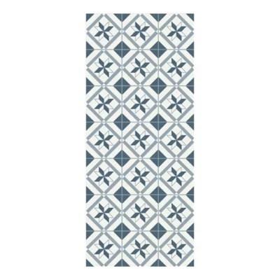 tapis vinyle carreaux ciment bleu et blanc 49 5 x 116 cm