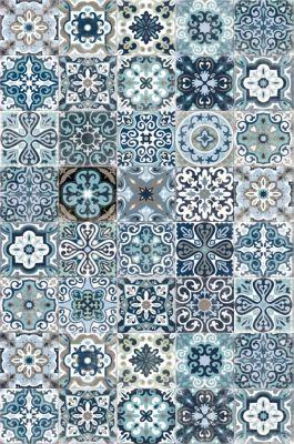 tapis vinyle carreaux de ciment bleu 98 x 148 5 cm