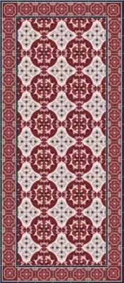 tapis vinyle carreaux de ciment rouge vif 49 5 x 83 cm