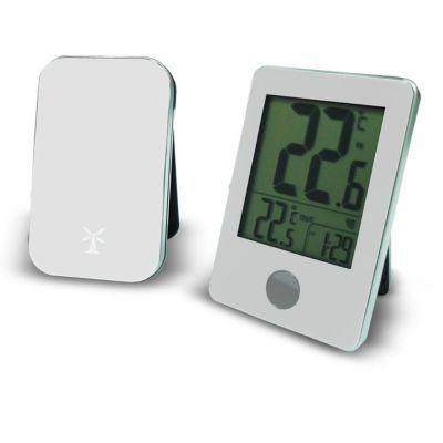 thermometre avec capteur exterieur sans fil otio blanc