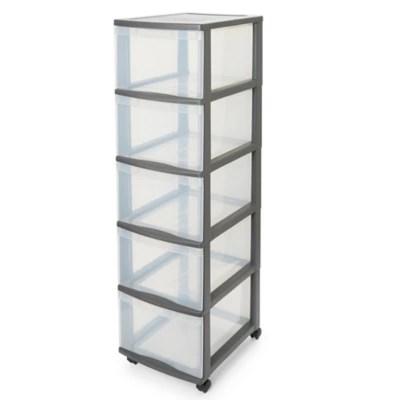 tour en plastique 5 tiroirs kontor gris h 105 5 x l 38 x p 30 cm