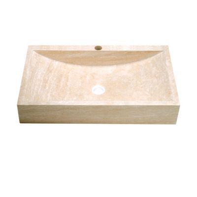 vasque rectangulaire pierre naturelle ivoire travertin