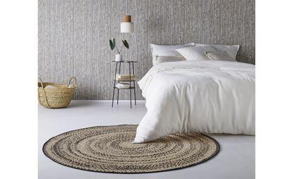 tapis rond empreinte motif ethnique