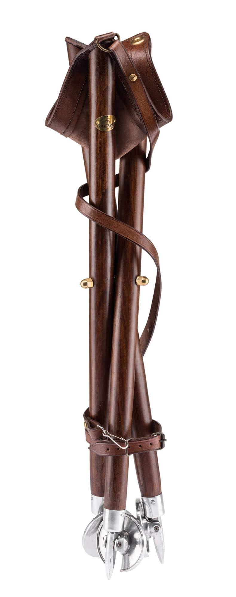siege pliant trepied bois aluminium avec assise cuir gastrock