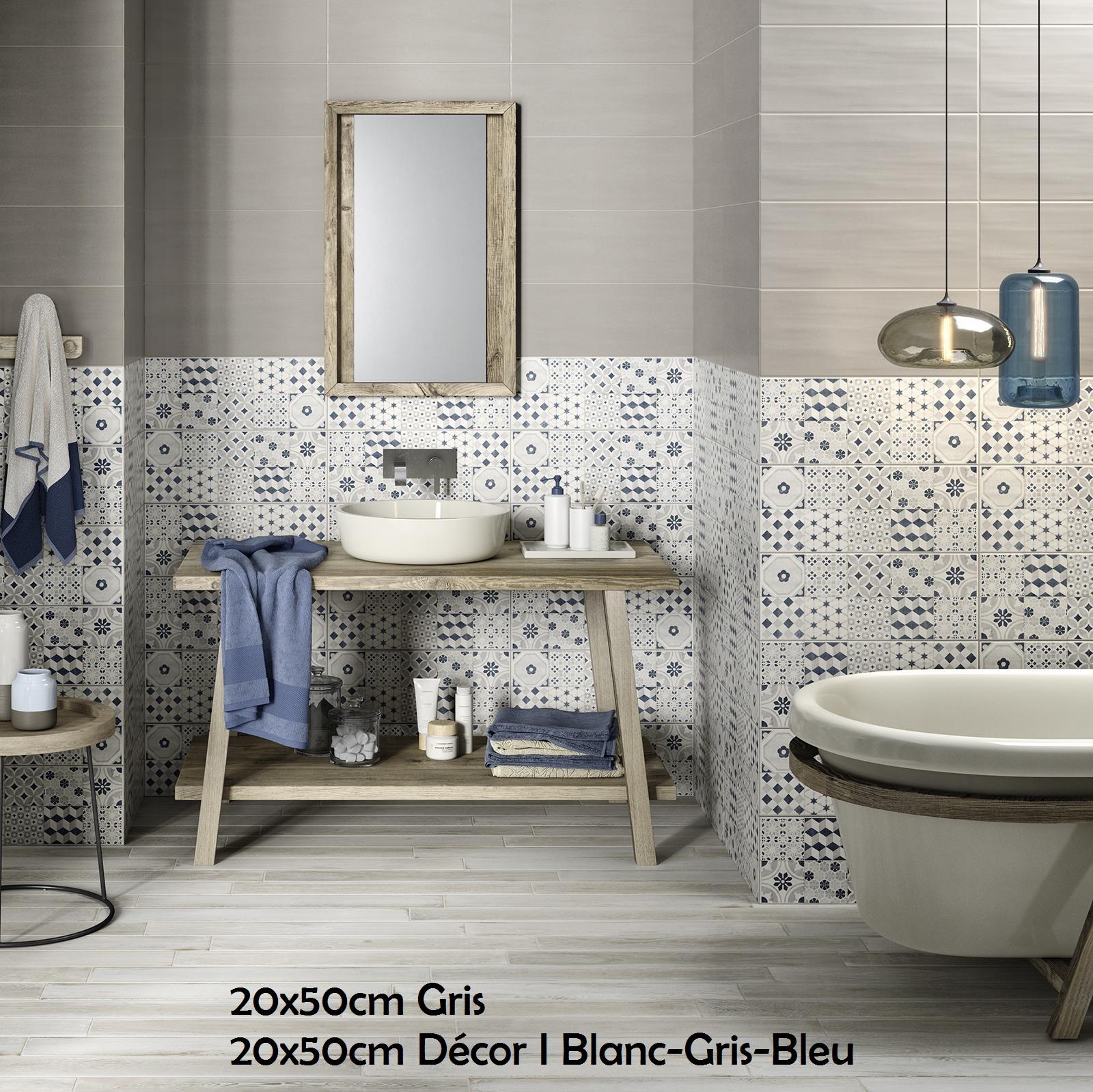 20x50 cm decor i blanc gris bleu