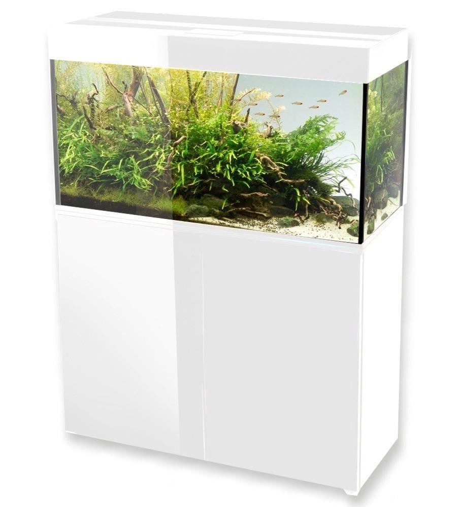aquael glossy 100 blanc laque aquarium 100 cm volume 215 l et eclairage leds