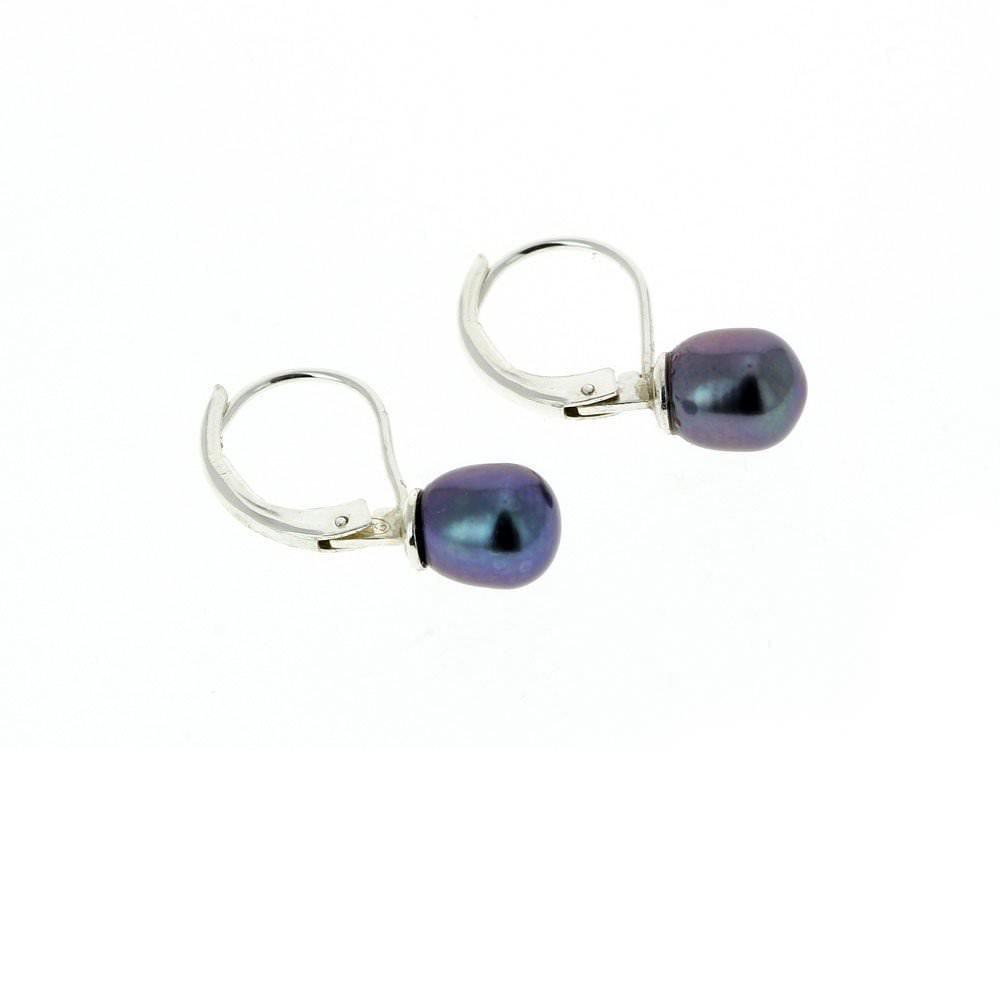 Boucles d'oreilles - Perle de Chine bleu/violet  Sanguti : 55€