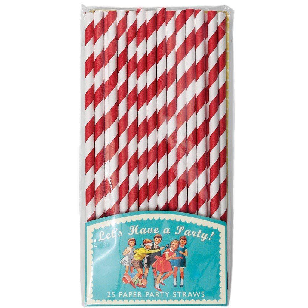Pailles en papier - Rouge et blanc  Rex : 3,50€