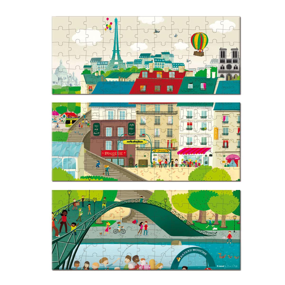 Puzzle Paris 3 en 1 - Janod  Janod - Juratoys : 10,90€