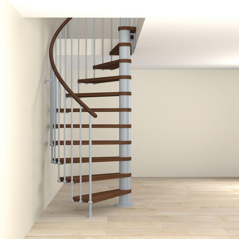 escalier semi colimacon fontanot tulip en acier gris clair o 168 cm