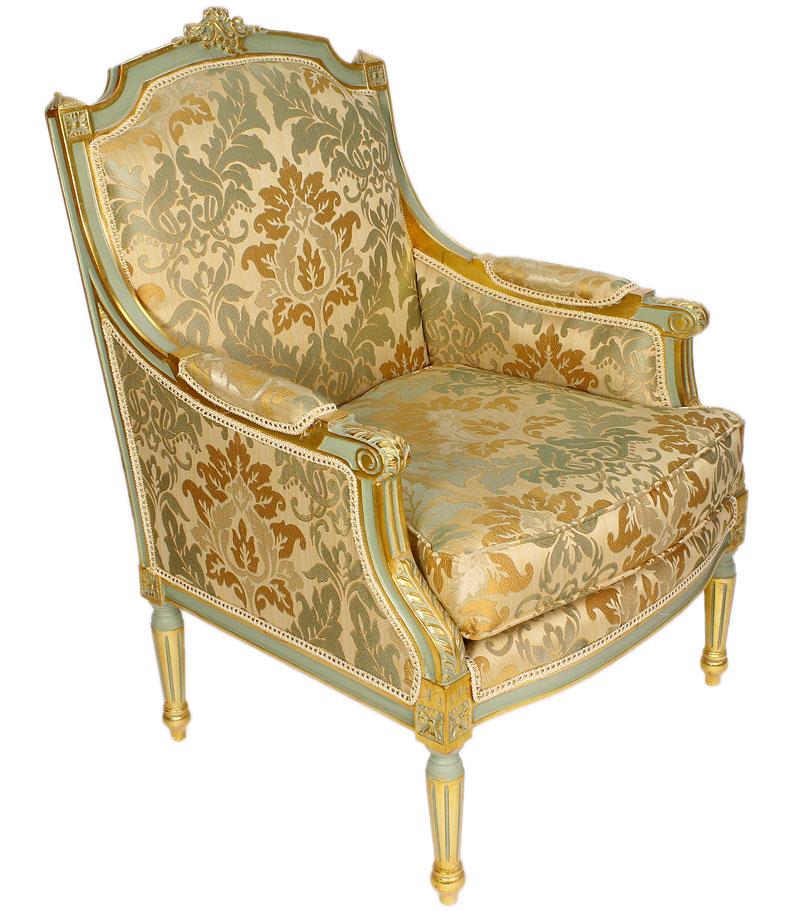 fauteuil style louis xvi en bois dore et tissu vert chambord