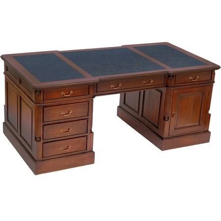 bureau de style anglais 180 cm en acajou avec sous main noir bristol