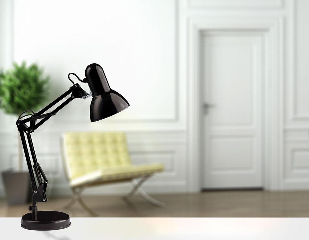 Lampe De Bureau Vintage Noire Et En Mtal Style Architecte