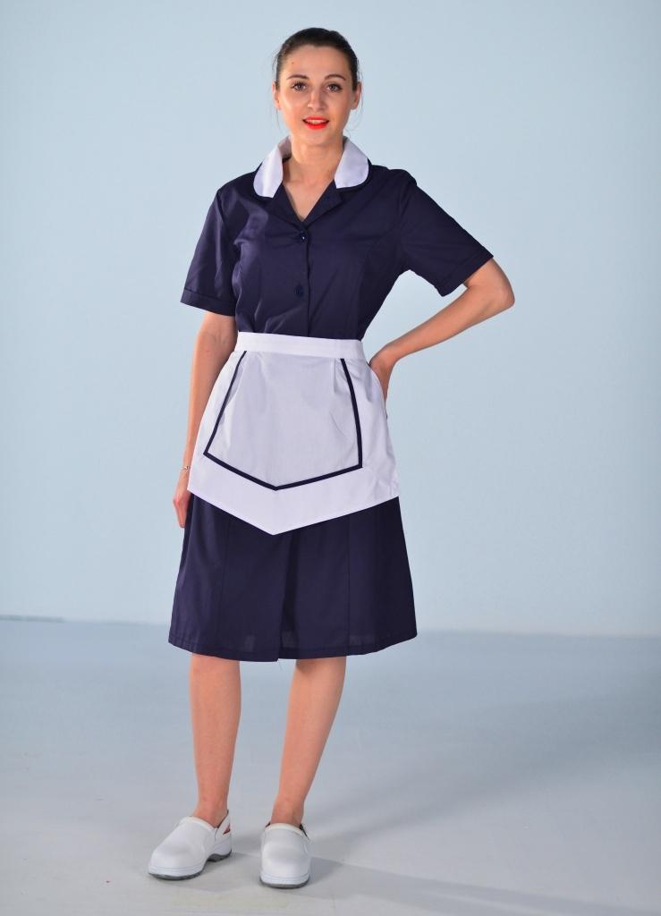 Blouse Femme De Chambre Manches Courtes Bleu Nuit Carlton
