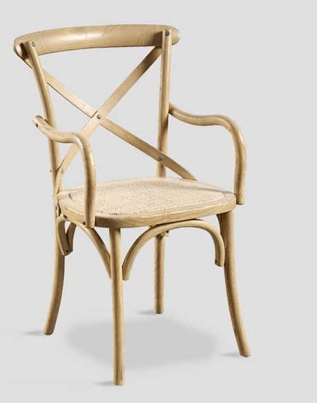 chaise orme naturelle avec accoudoirs