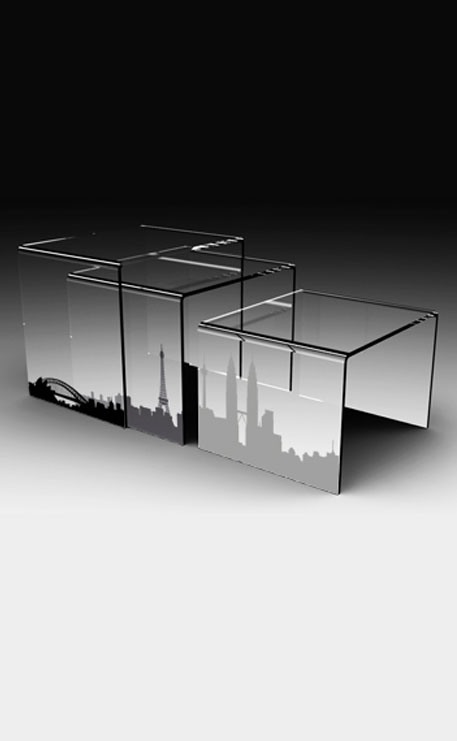 table basse plexiglass gigogne city
