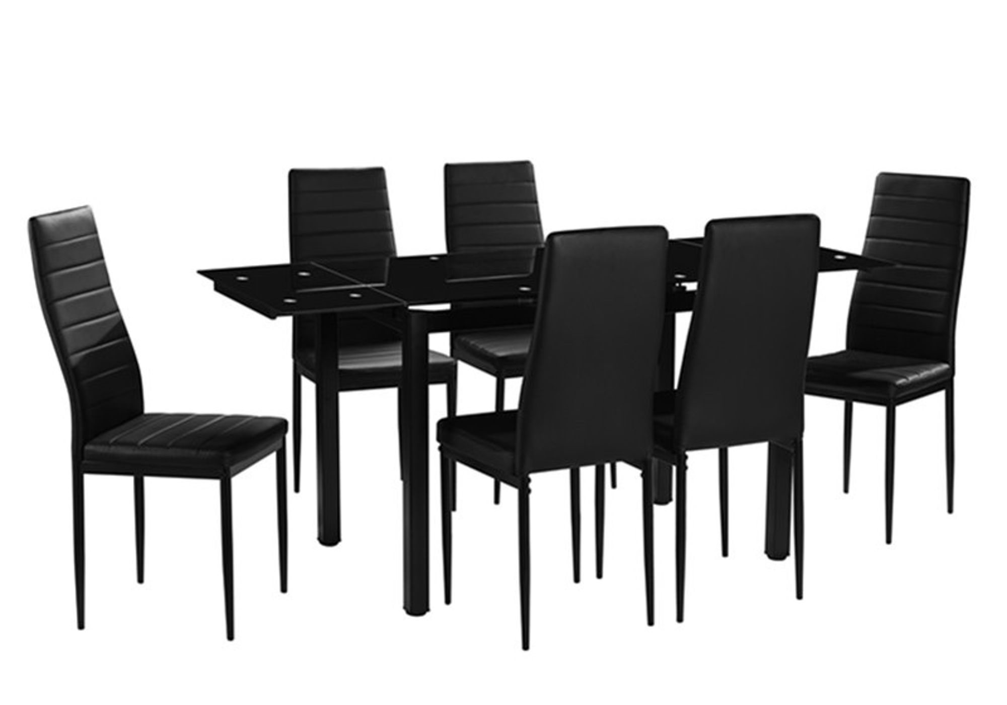 table extensible 6 chaises noir fly