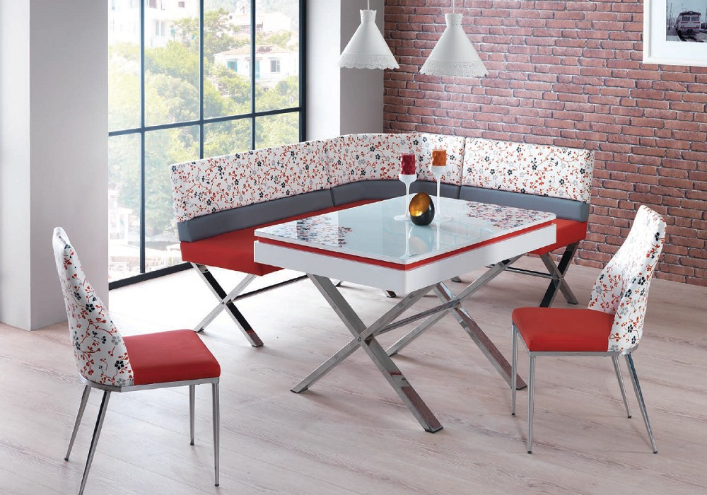 coin repas extensible chaises rouge
