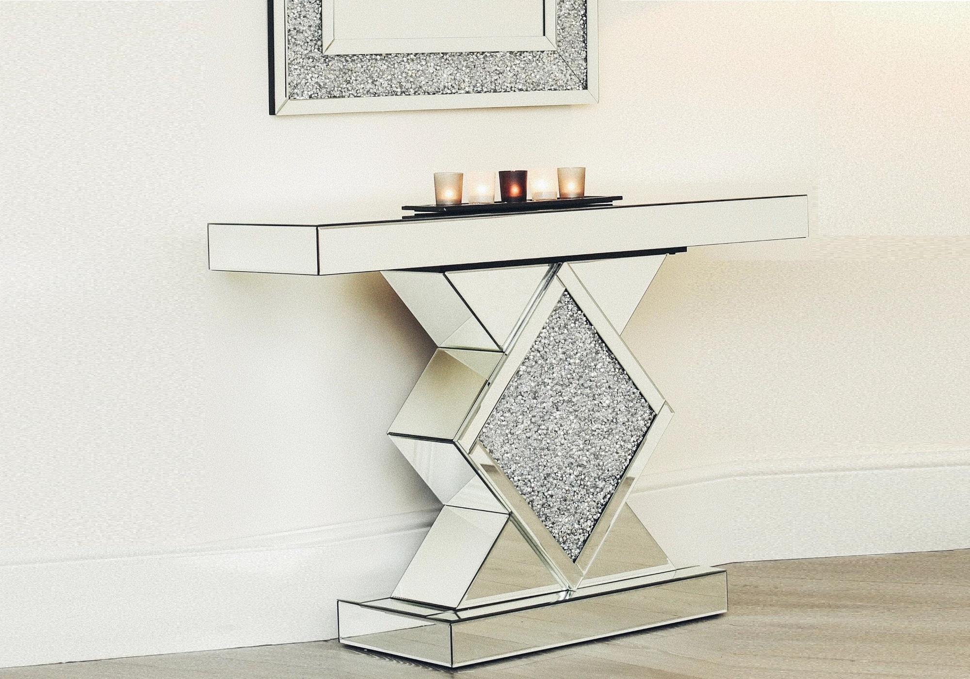 console miroir design cristaux ava