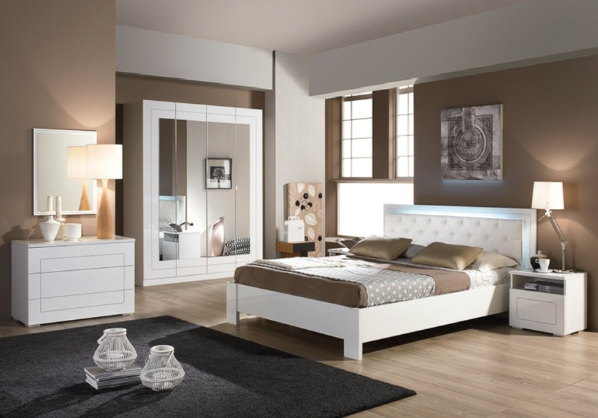 meubles chambre a coucher laque blanc alaska