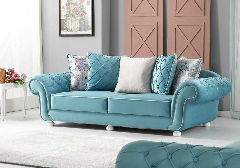 canape en tissu velours turquoise luxury