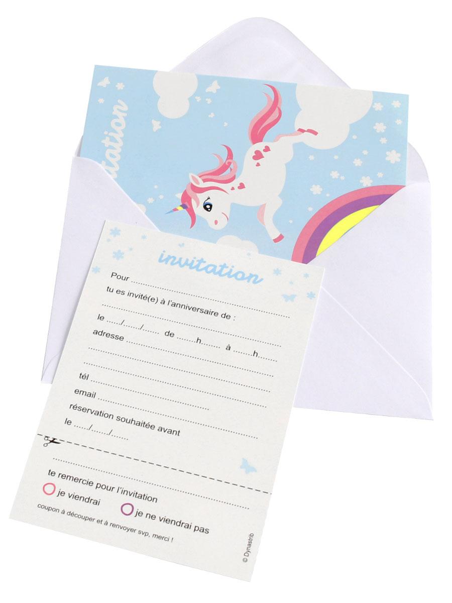 6 cartes d invitation licorne