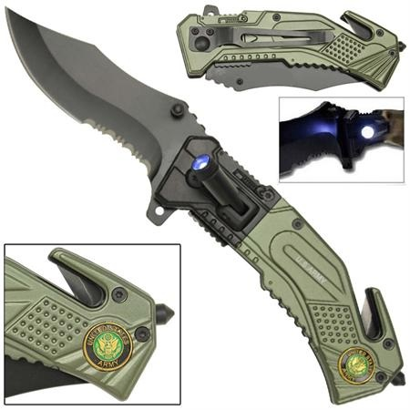 couteau us army torche led metal wg1049