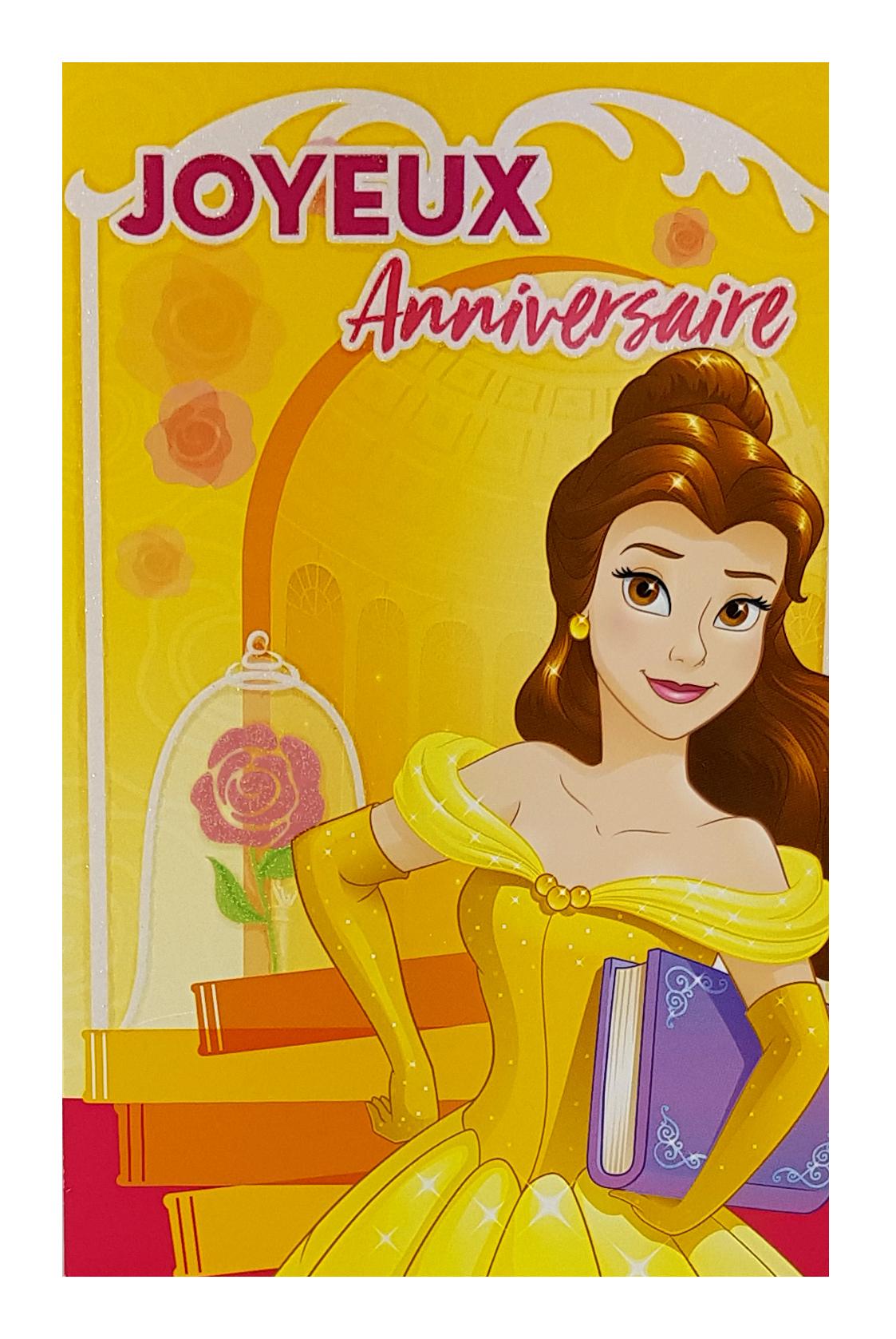 carte anniversaire princesse belle disney ref 115