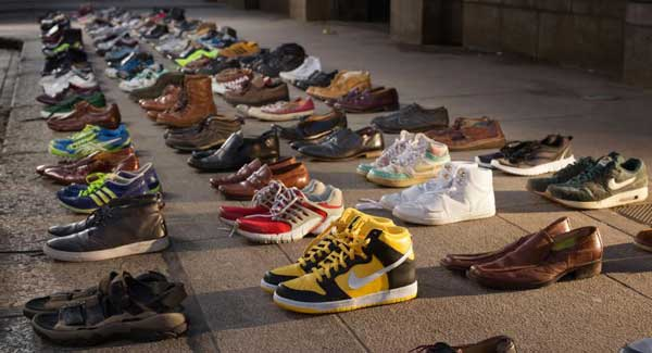 Image result for CHARITY PLACES 380 PAIRS OF SHOES OUTSIDE DÁIL TO HIGHLIGHT RATE OF MALE SUICIDE
