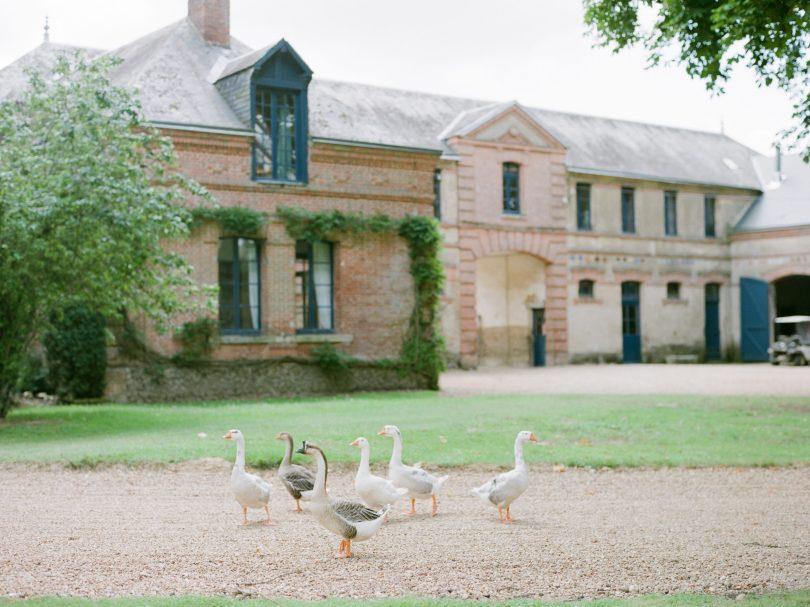 le château de bouthonvilliers en EURE-ET-LOIR et ses oies dans la cour principale