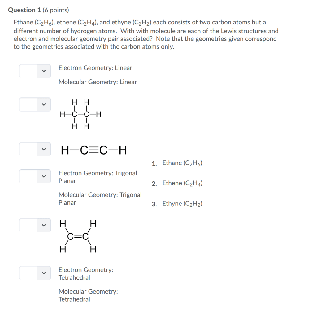 Solved Question 1 6 Points Ethane C2h6 Ethene C2h4