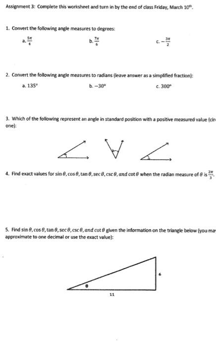 Radian Degree Worksheet