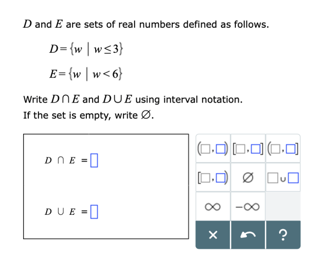 Solved D and E are sets of real numbers defined as follows