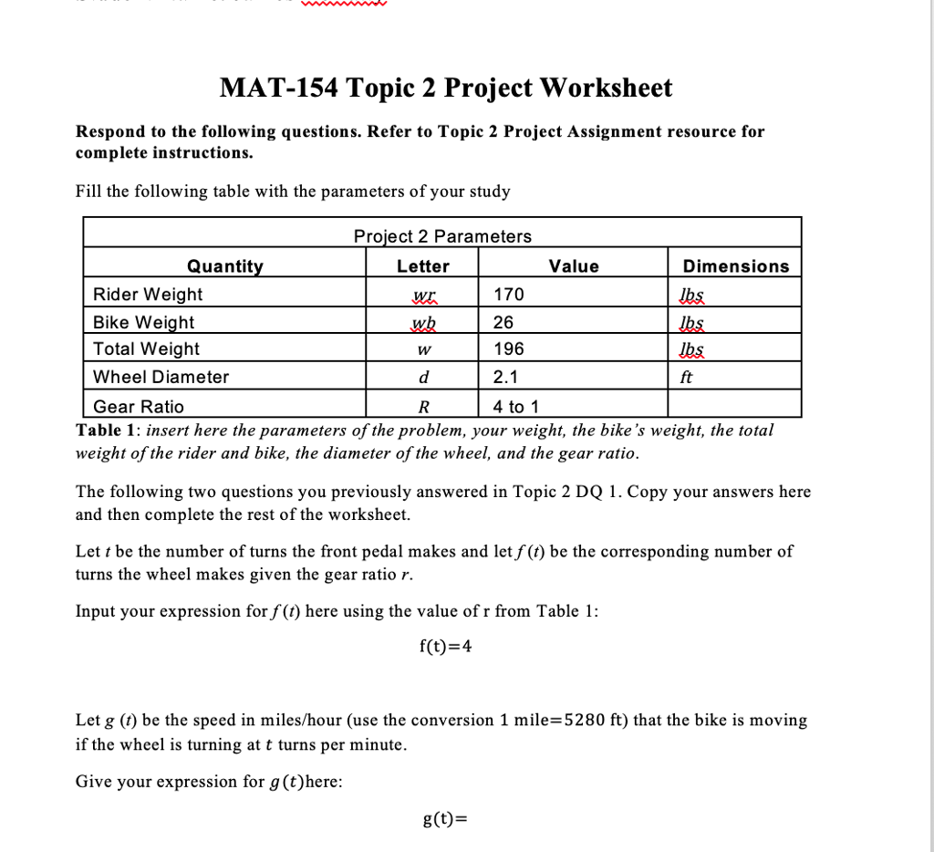 Solved Mat 154 Topic 2 Project Assignment The Purpose Of