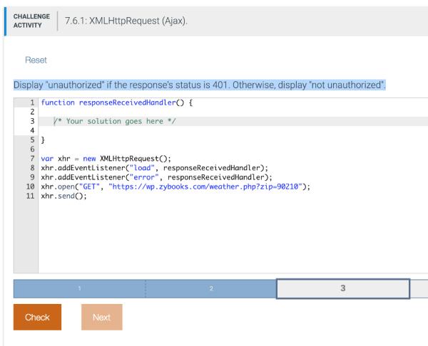 Solved: CHALLENGE 7.6.1: XMLHttpRequest (Ajax) ACTIVITY Re ...