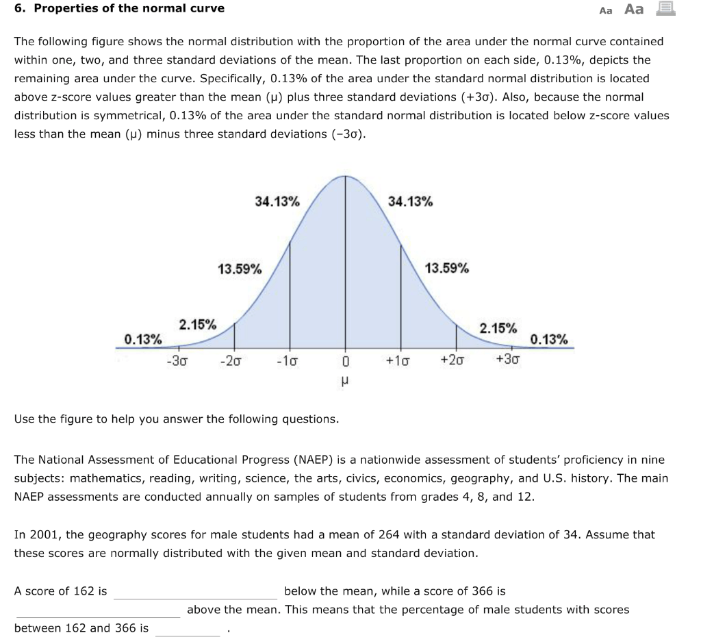 Solved 6 Properties Of The Normal Curve Aa Aa The Follow
