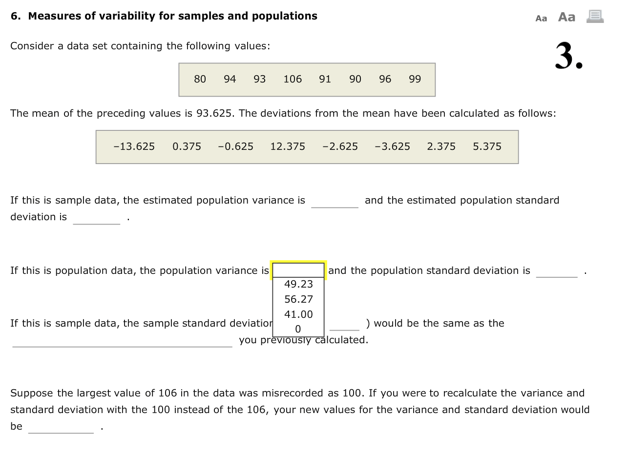 Solved 6 Measures Of Variability For Samples And Populat