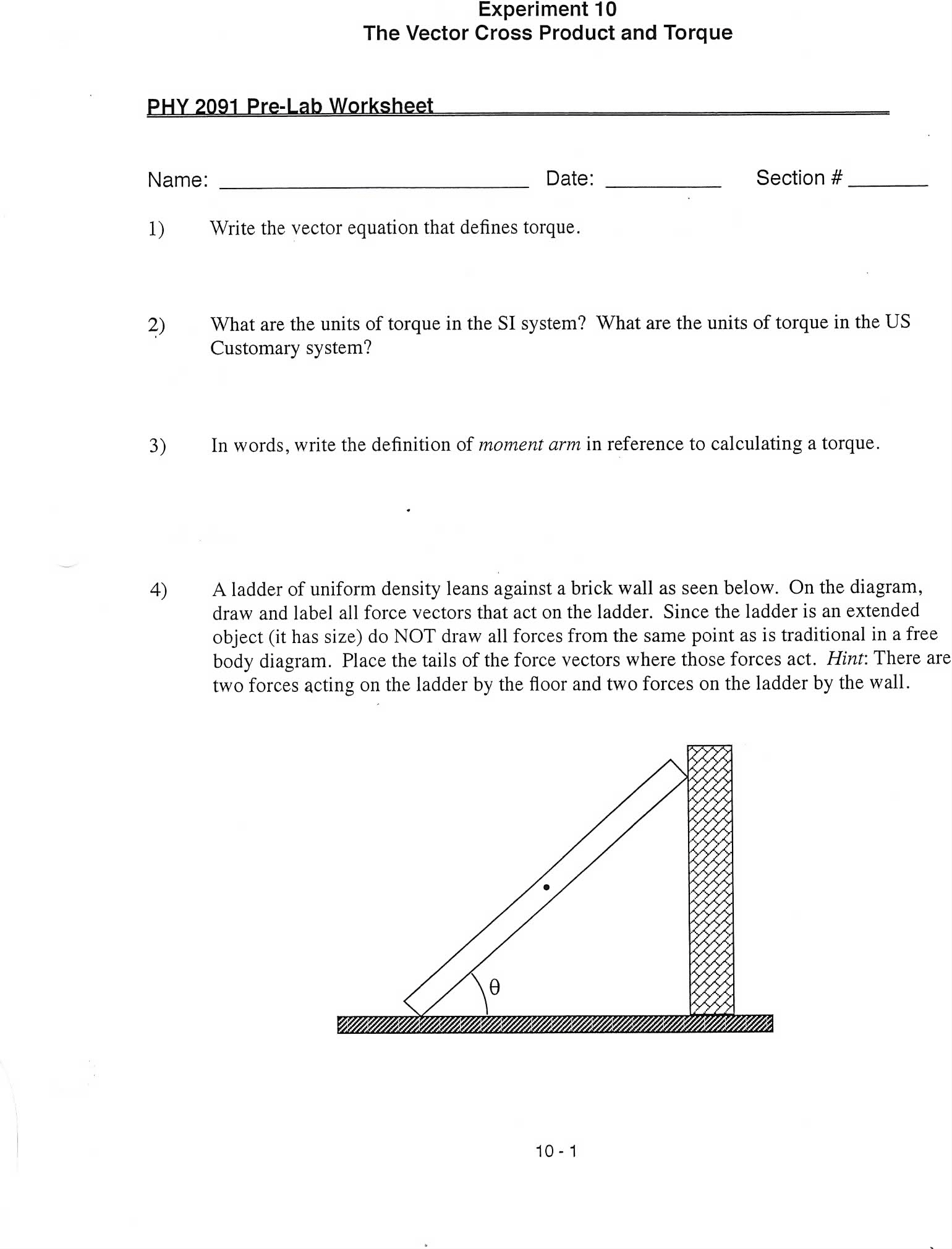 Name Date Section Write The Vector Equation