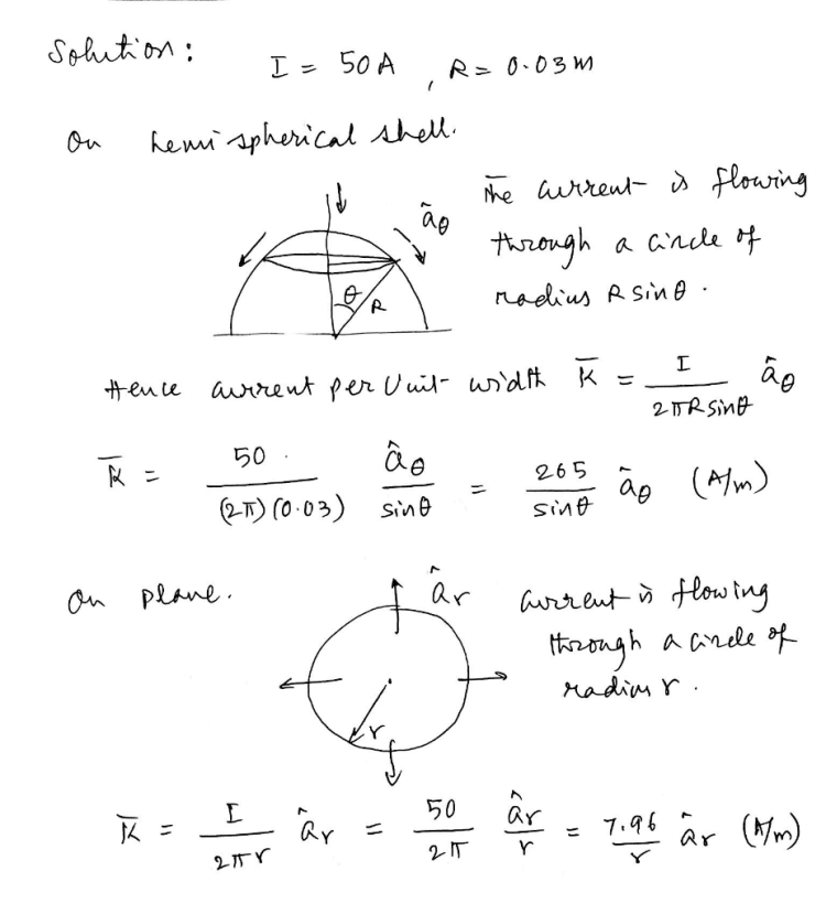 solution : I = 50 A R=0.03m on hemispherical shell. the current is flowing through a cince of radius R sino Hence aurrent per