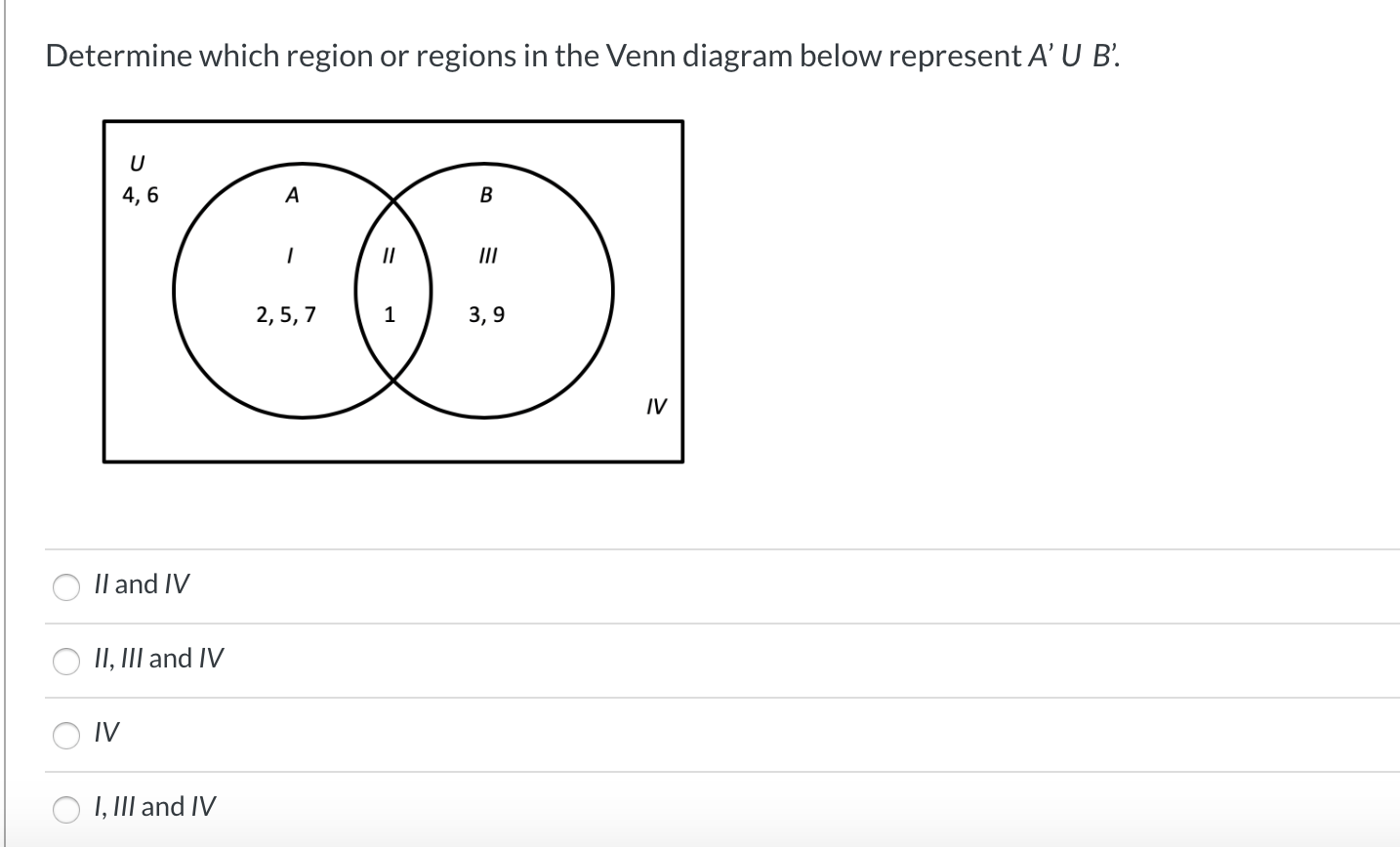 Solved Determine Which Region Or Regions In The Venn Diag