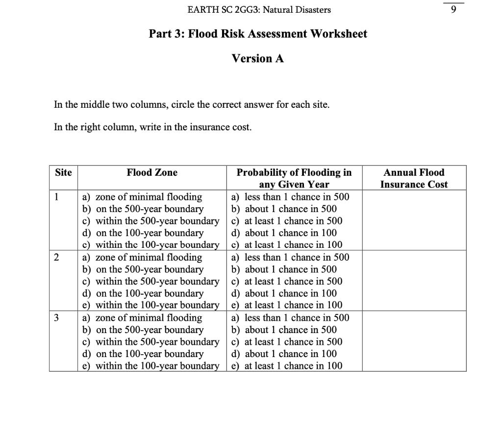 Solved Part 3 Flood Risk Assessment Version A Flood Risk