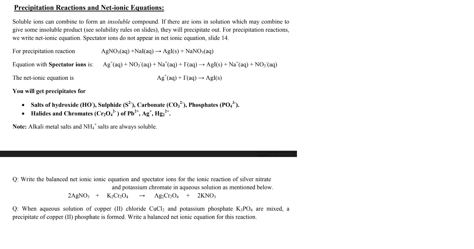 Solved Precipitation Reactions And Net Ionic Equations S