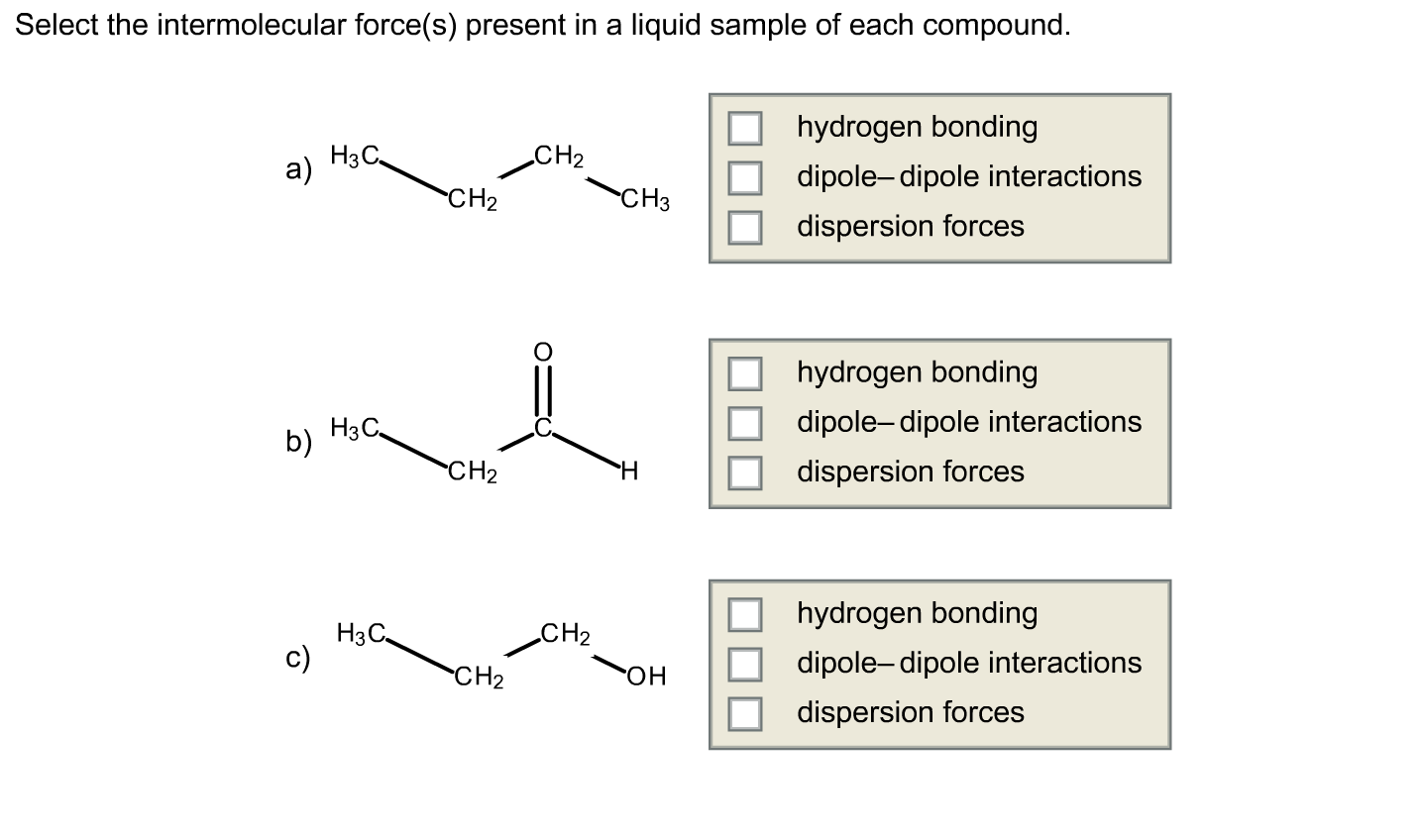 Solved Select The Intermolecular Force S Present In A Li