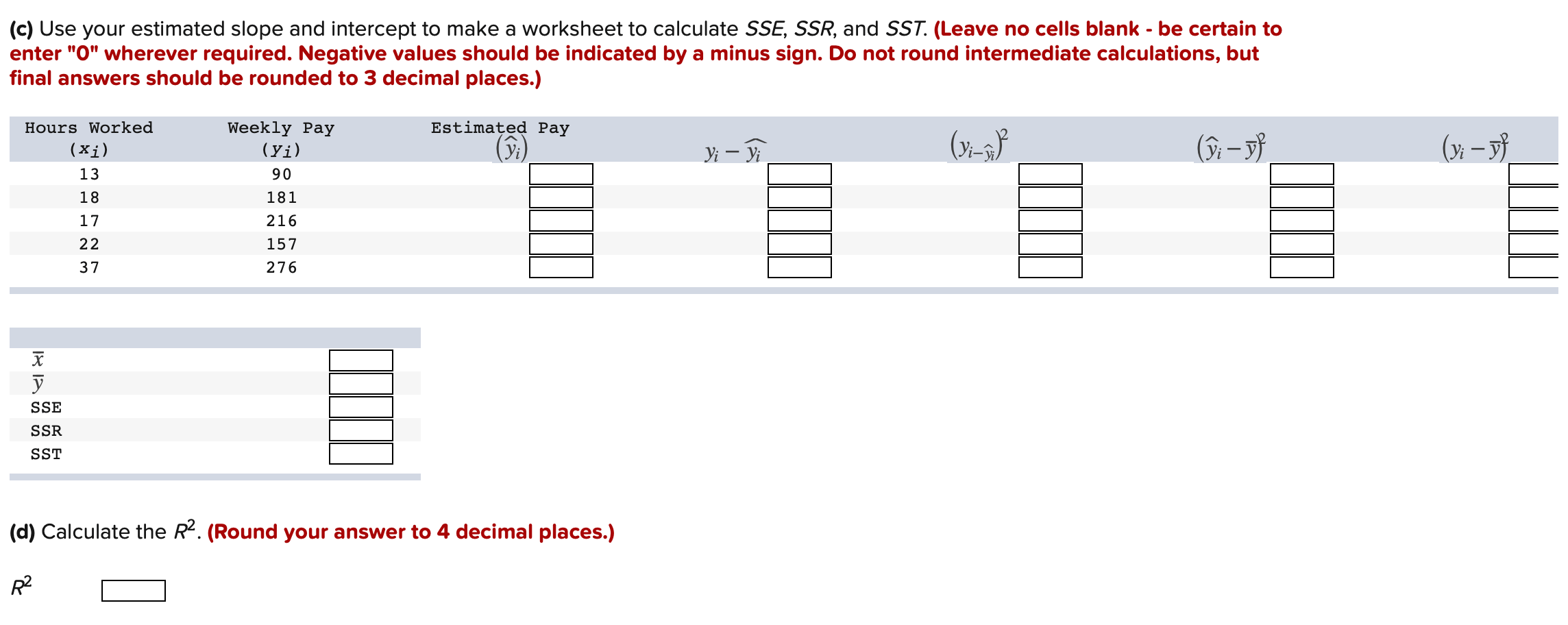 Solved A Make An Excel Worksheet To Calculate Ssxx Ssy