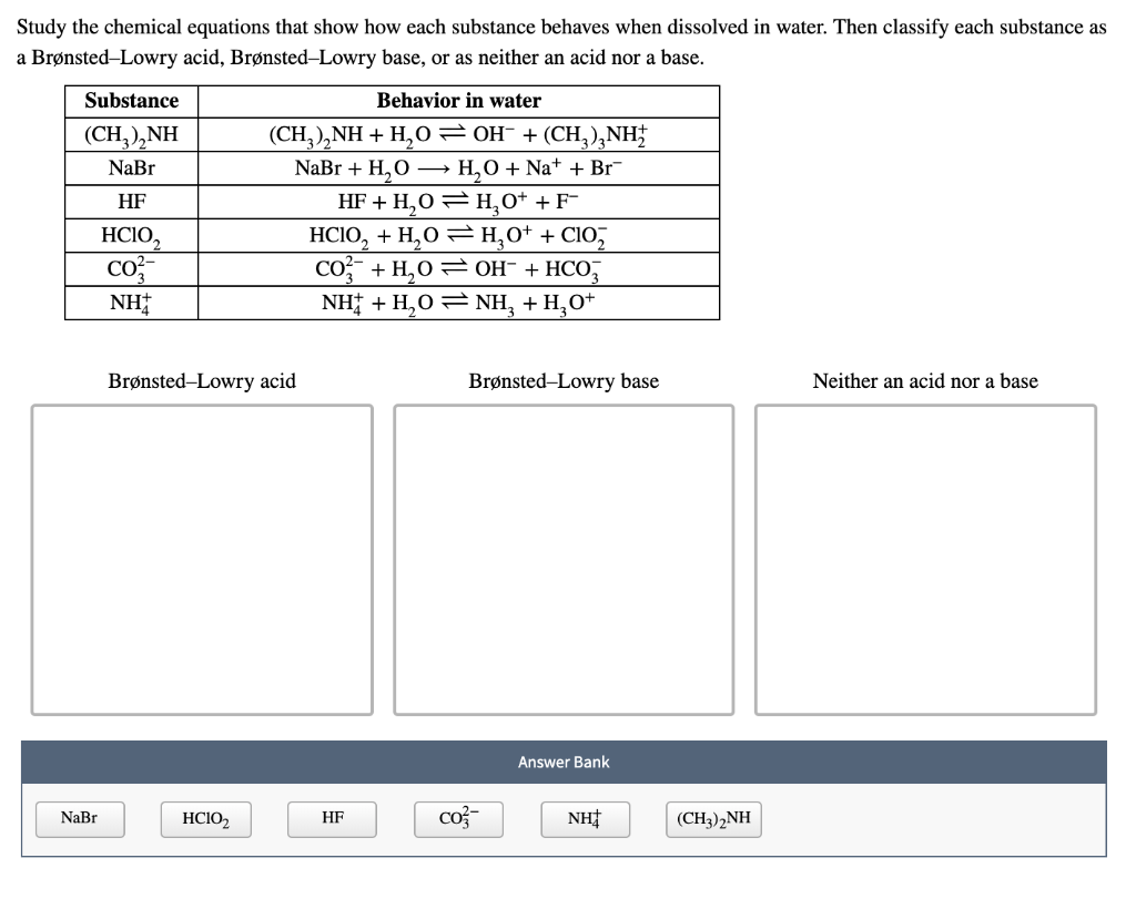 Solved Study The Chemical Equations That Show How Each Su