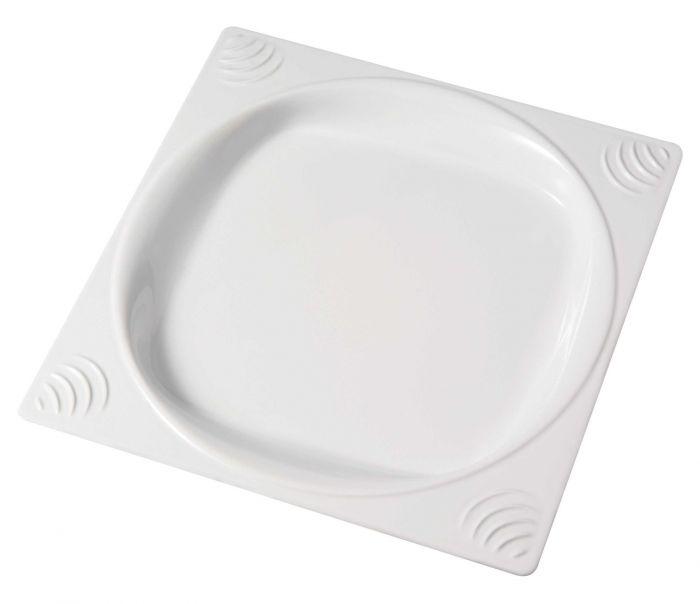 assiette plate carree blanc plastique 23 50x23 50 cm vaisselle copolyester saint romain