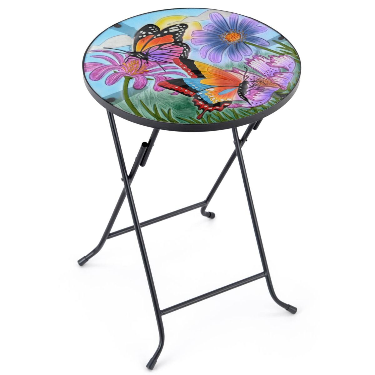 Christow Butterfly Glass Top Folding Patio Table