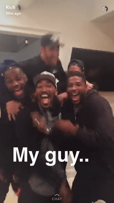 J.R. was hanging with teammates during camp
